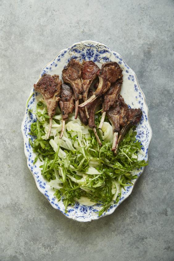 garam masala-rubbed lamb chops with simple fennel and arugula salad