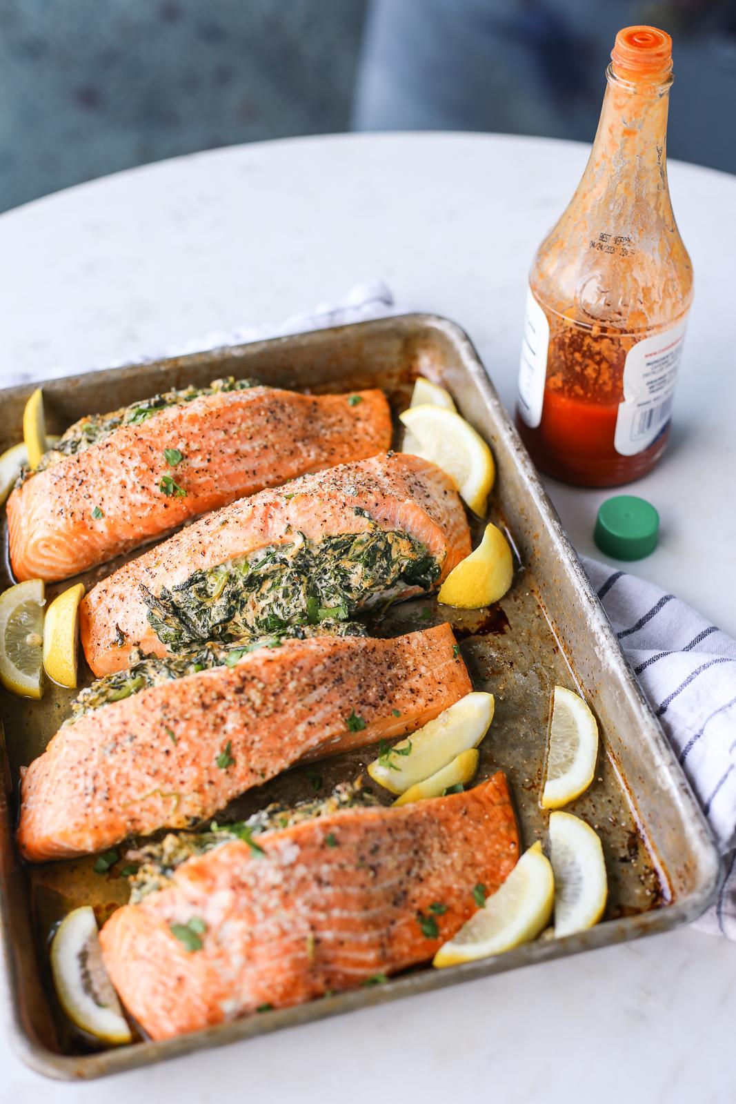 Creamy Spinach Stuffed Salmon