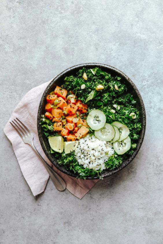 salmon poke and kale salad bowls
