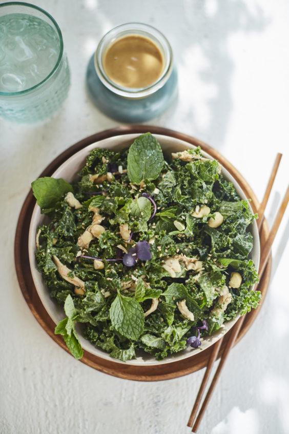 "kale and mint salad with ""peanut"" vinaigrette"
