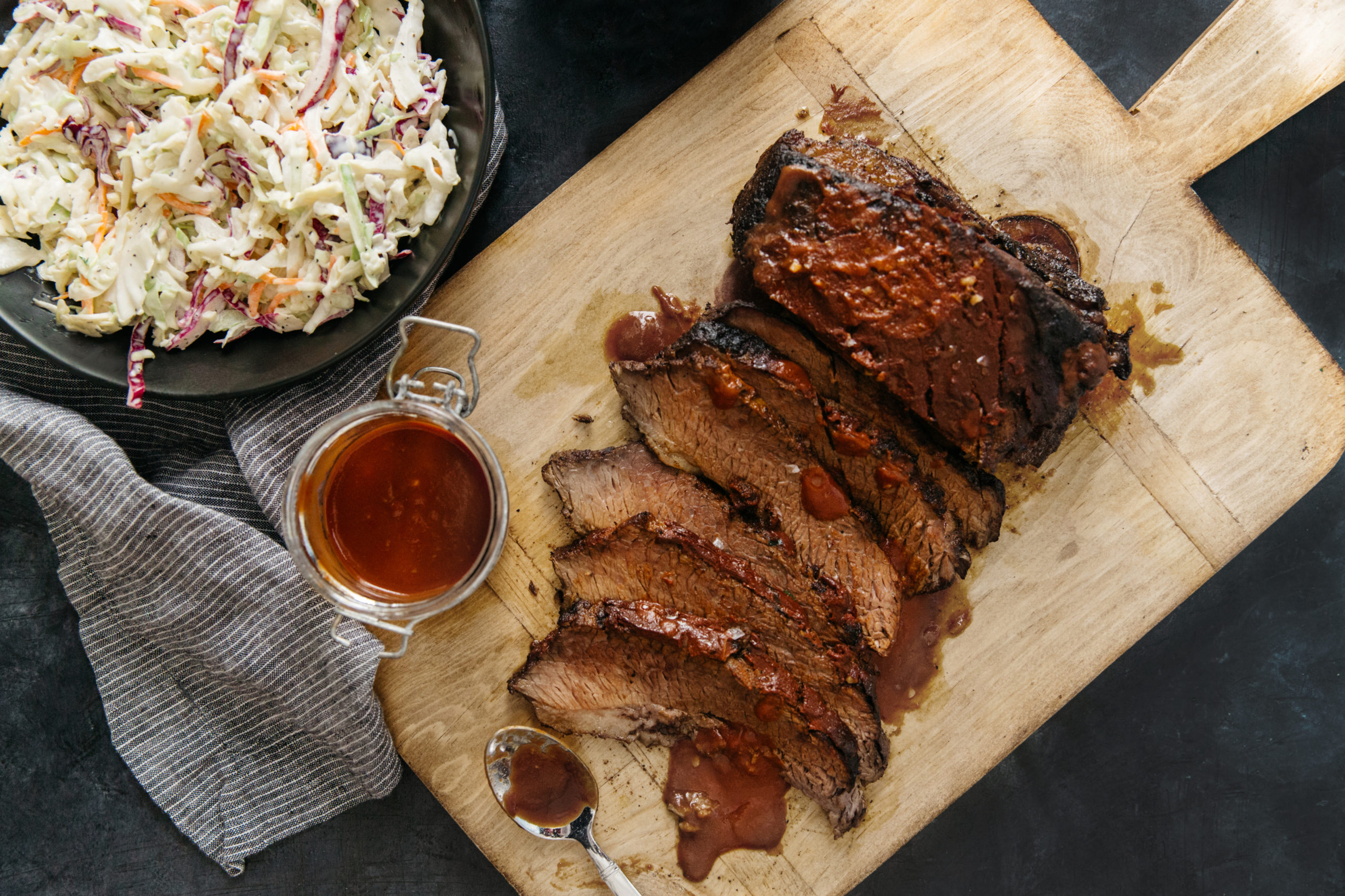 slow-cooker bbq beef brisket with quick-and-easy coleslaw