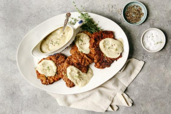 chicken-fried steak with creamy cauliflower gravy