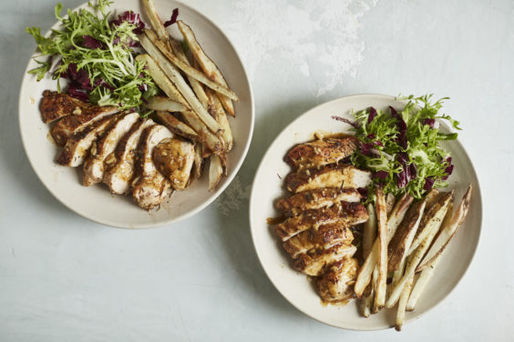 pan-roasted blackened cajun chicken with oven frites