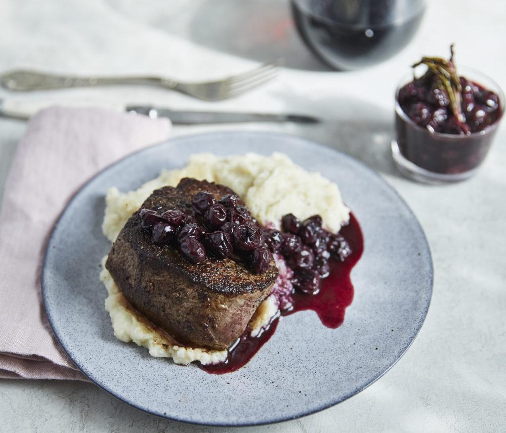 blueberry filet mignon with cauliflower mash