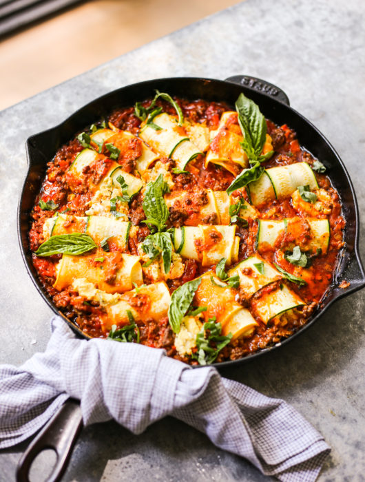 Dairy-Free Zucchini Roll-Ups in Easy Bolognese Sauce