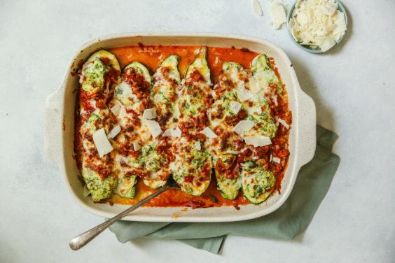 Lasagna-Stuffed ZucchiniBoats
