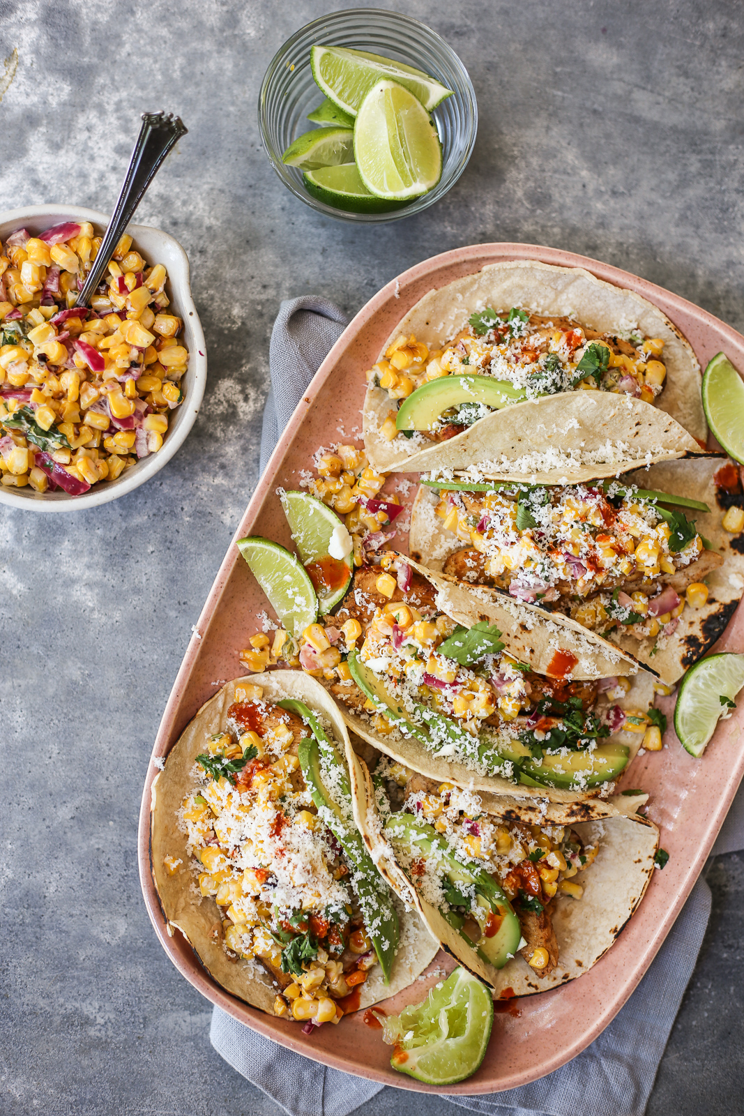 Seared Chicken Tacos with Street Corn Salsa