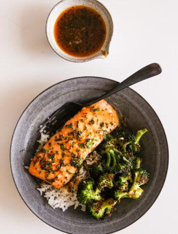 Sheet Pan Salmon + Broccoli