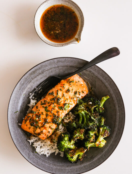 Sheet Pan Salmon + Broccoli