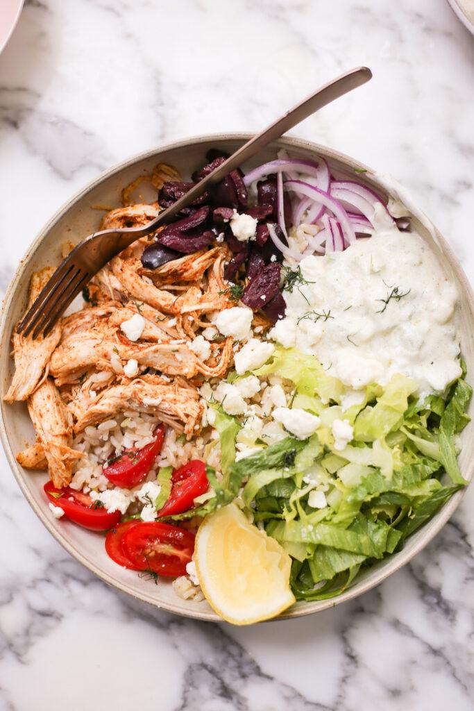 Easy Greek-Inspired Rotisserie Chicken Bowls