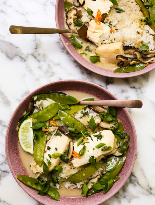 Poached Halibut in a Thai-Inspired Coconut Broth