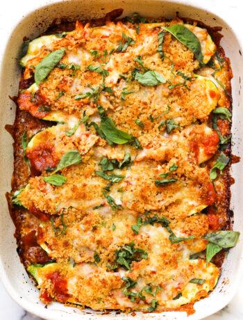 Easy Chicken Parmesan-Stuffed Zucchini Boats