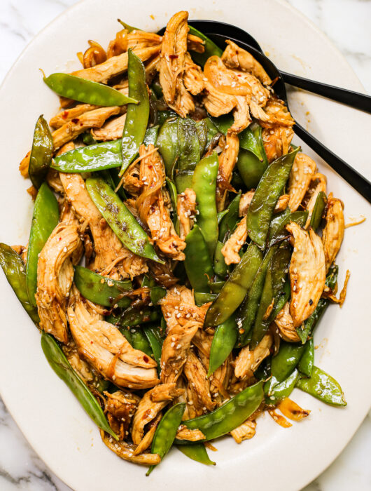 Easy Sesame Chicken and Snow Pea Stir Fry