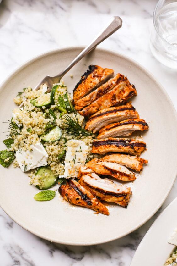 Harissa-Yogurt Marinated Chicken with Cucumber-Quinoa Salad