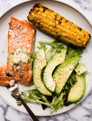 Cedar Plank Salmon and Corn with Serrano-Butter