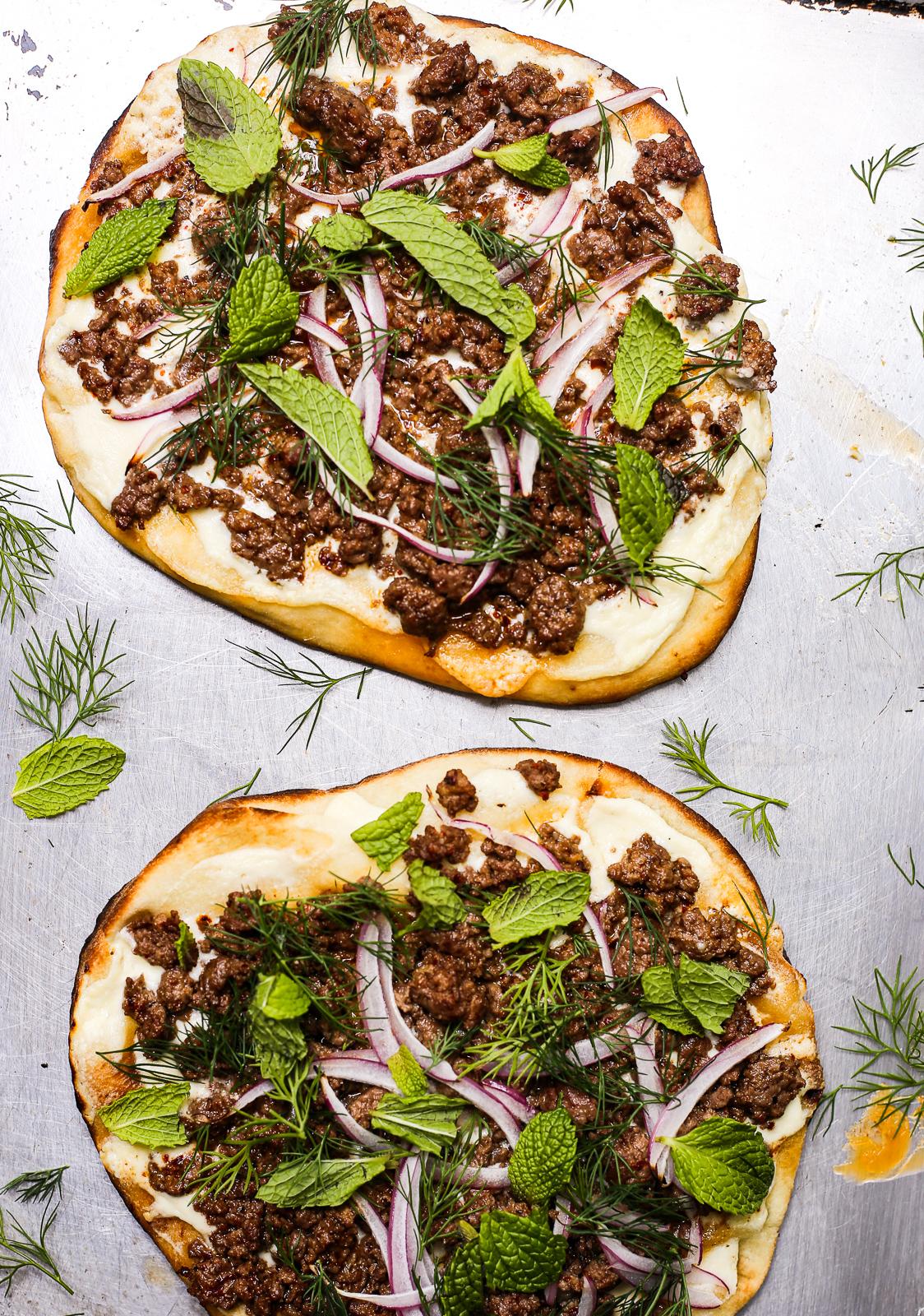 Spicy Lamb Grilled Pizzettas