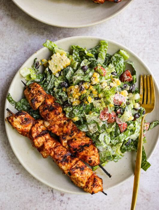 BBQ Chicken Skewer Salad