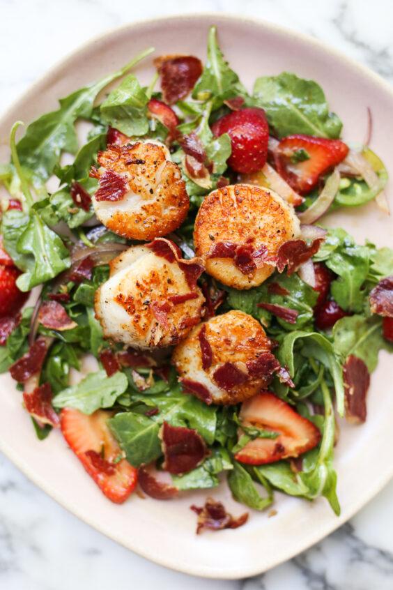 Strawberry Salad with Crispy Coppa and Seared Scallops