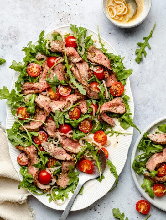 Mustard Marinated Flank Steak + Arugula Salad